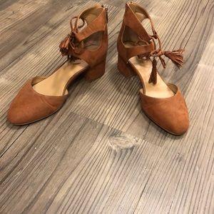 Franco Sarto tan suede Friction block heels size 7